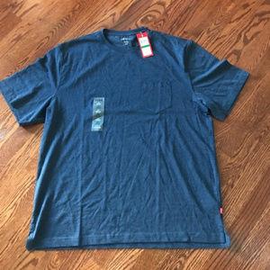 IZOD Casual Blue T-Shirt Tee Crew Neck w/ Pocket L